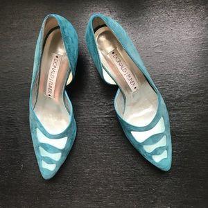 Donald J Pliner blue suede heels